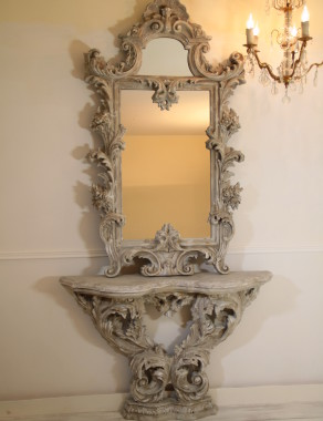 Italian Vintage and very unique Mirror with console, from early XX century