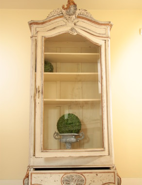 French Louis XV Walnut Display Armoire